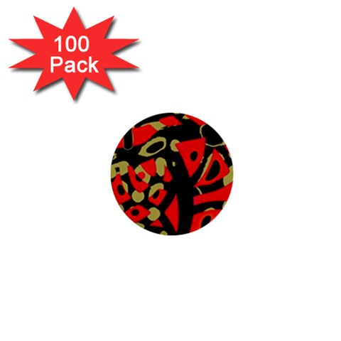 Red artistic design 1  Mini Buttons (100 pack)