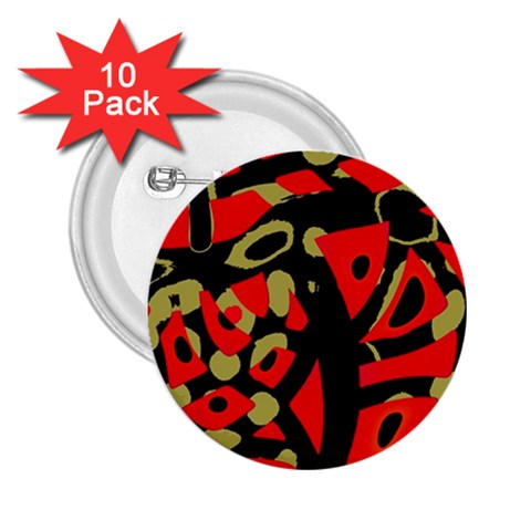 Red artistic design 2.25  Buttons (10 pack)