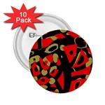 Red artistic design 2.25  Buttons (10 pack)  Front