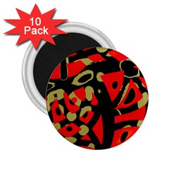 Red artistic design 2.25  Magnets (10 pack)