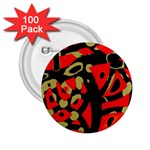 Red artistic design 2.25  Buttons (100 pack)  Front