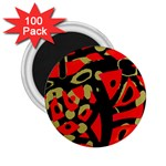 Red artistic design 2.25  Magnets (100 pack)  Front