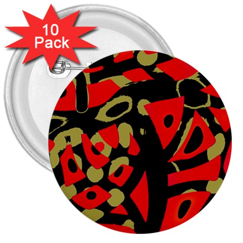 Red artistic design 3  Buttons (10 pack)