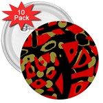 Red artistic design 3  Buttons (10 pack)  Front