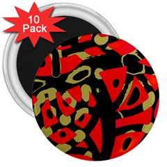 Red artistic design 3  Magnets (10 pack)