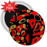 Red artistic design 3  Magnets (10 pack)  Front