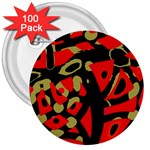 Red artistic design 3  Buttons (100 pack)  Front