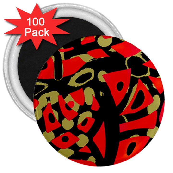 Red artistic design 3  Magnets (100 pack)