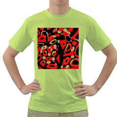Red Artistic Design Green T Shirt