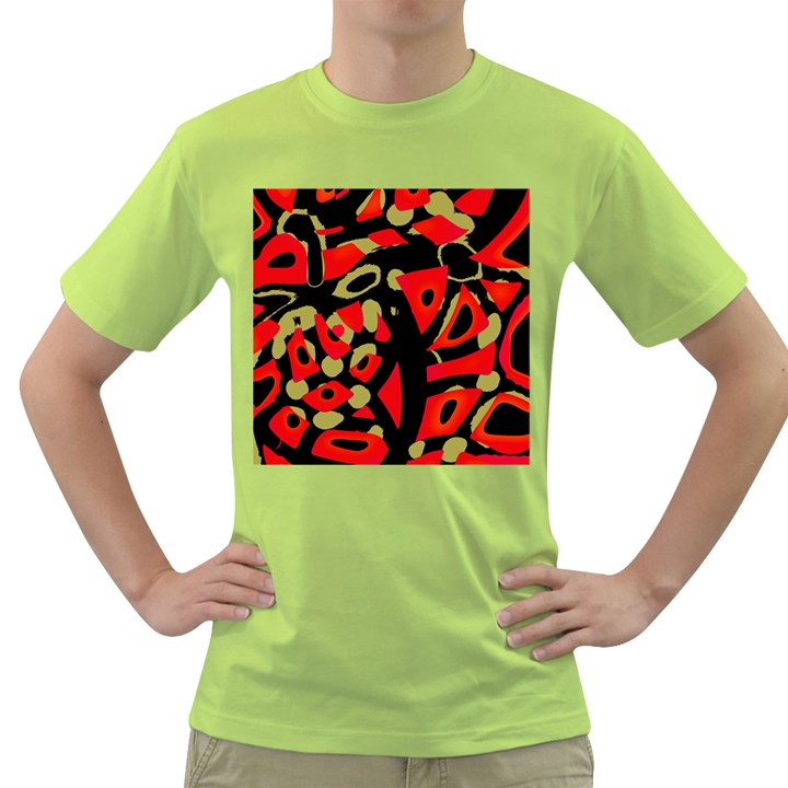 Red artistic design Green T-Shirt