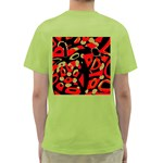 Red artistic design Green T-Shirt Back