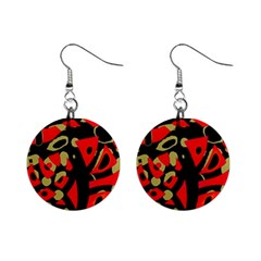 Red artistic design Mini Button Earrings