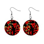 Red artistic design Mini Button Earrings Front