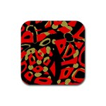 Red artistic design Rubber Square Coaster (4 pack)  Front