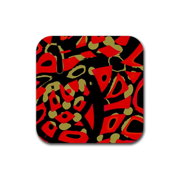 Red artistic design Rubber Square Coaster (4 pack)