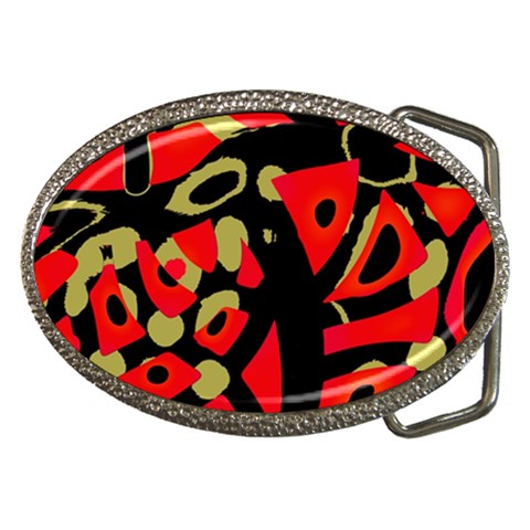 Red artistic design Belt Buckles
