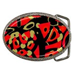 Red artistic design Belt Buckles Front