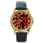 Red artistic design Round Gold Metal Watch Front