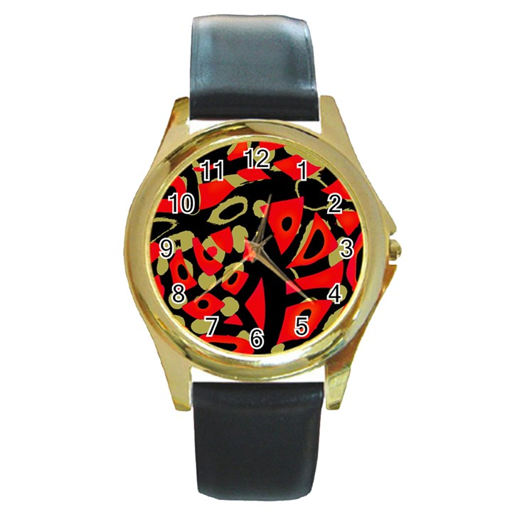 Red artistic design Round Gold Metal Watch