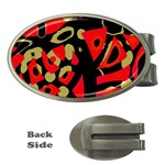 Red artistic design Money Clips (Oval)  Front
