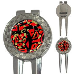 Red Artistic Design 3 In 1 Golf Divots