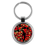 Red artistic design Key Chains (Round)  Front