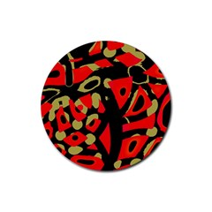 Red Artistic Design Rubber Coaster (round)