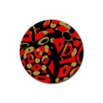 Red artistic design Rubber Round Coaster (4 pack)  Front
