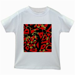 Red artistic design Kids White T-Shirts
