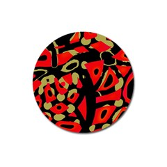 Red artistic design Magnet 3  (Round)