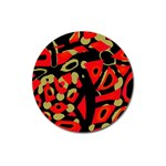 Red artistic design Magnet 3  (Round) Front