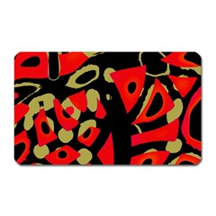 Red artistic design Magnet (Rectangular)