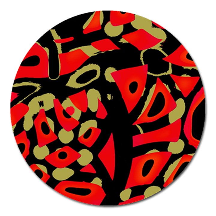 Red artistic design Magnet 5  (Round)