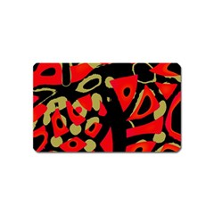 Red artistic design Magnet (Name Card)