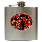 Red artistic design Hip Flask (6 oz) Front