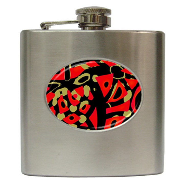 Red artistic design Hip Flask (6 oz)