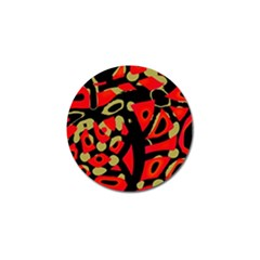 Red Artistic Design Golf Ball Marker (4 Pack)