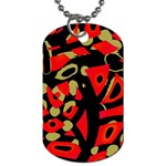 Red artistic design Dog Tag (Two Sides) Back