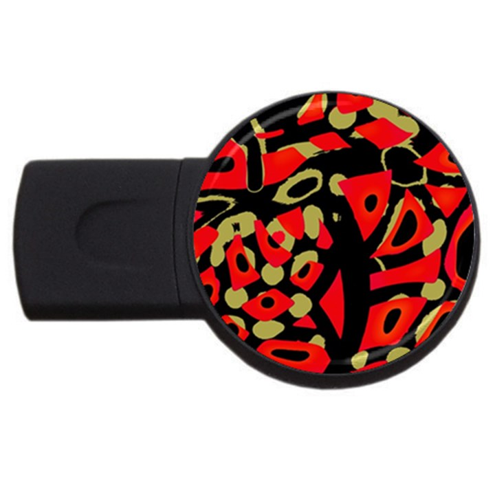Red artistic design USB Flash Drive Round (2 GB)