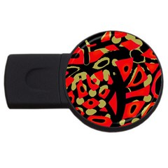 Red artistic design USB Flash Drive Round (1 GB)