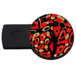 Red artistic design USB Flash Drive Round (1 GB)  Front