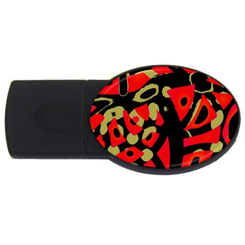 Red artistic design USB Flash Drive Oval (2 GB)