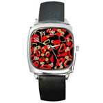 Red artistic design Square Metal Watch Front