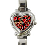 Red artistic design Heart Italian Charm Watch Front