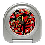 Red artistic design Travel Alarm Clocks Front