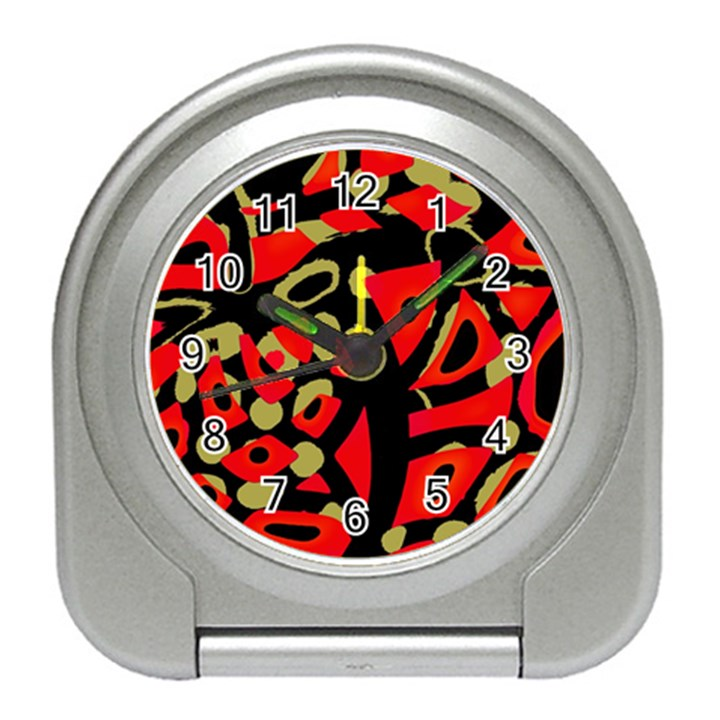 Red artistic design Travel Alarm Clocks