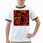 Red artistic design Ringer T-Shirts Front