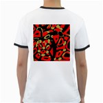 Red artistic design Ringer T-Shirts Back