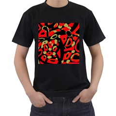 Red artistic design Men s T-Shirt (Black) (Two Sided)