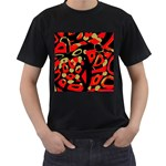 Red artistic design Men s T-Shirt (Black) (Two Sided) Front